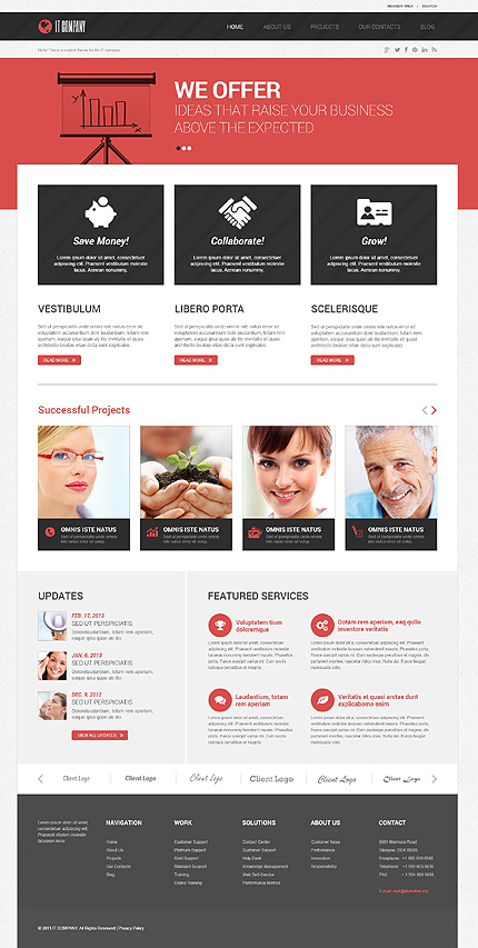 techy red wordpress business template