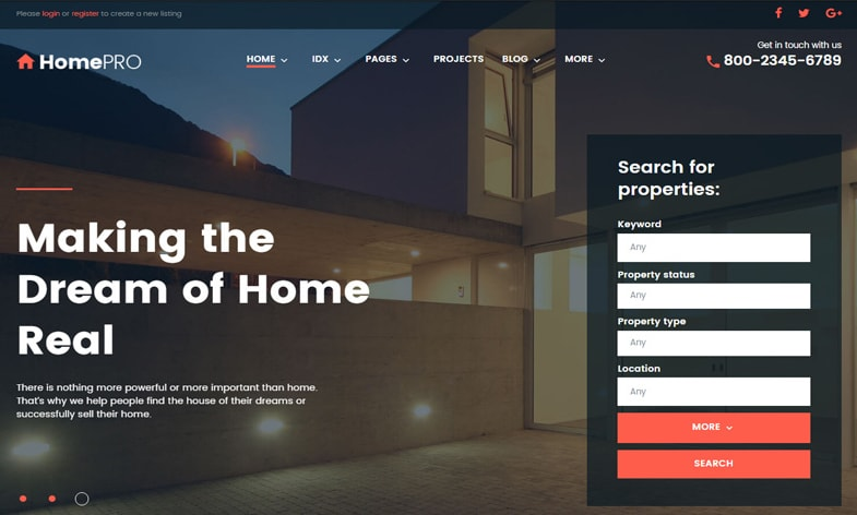 homepro real estate wordpress business theme