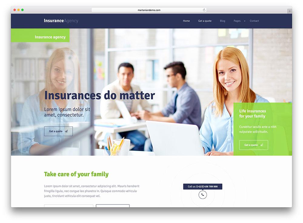 insurance agency wordpress template  30  Best Insurance WordPress Themes of 2017