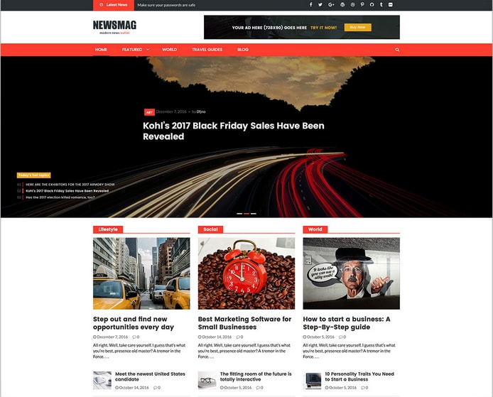 NewsMag Bootstrap WordPress Magazine Theme