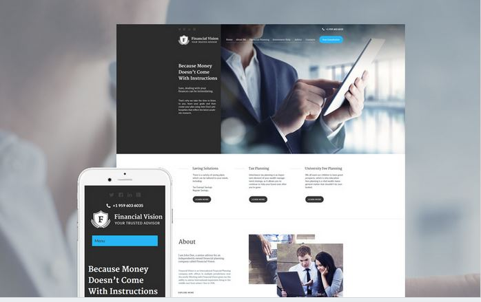 financial vision wordpress responsive theme