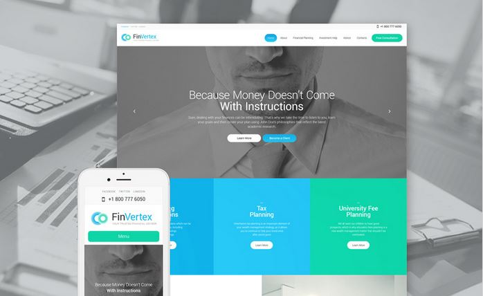 finvertex wordpress responsive theme