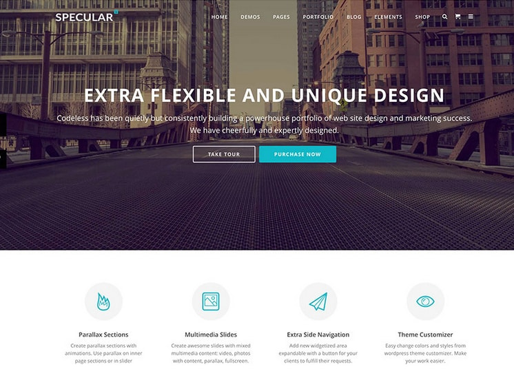 specular fullscreen bootstrap wp business theme