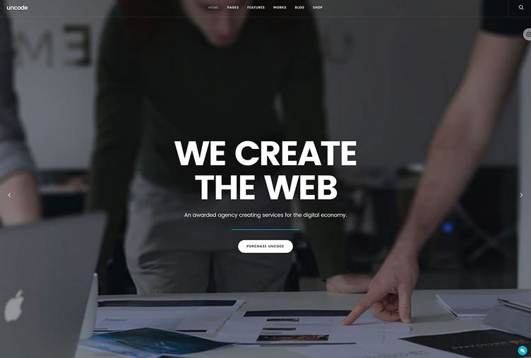 uncode mobile friendly fullscreen wordpress theme